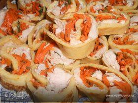 Блинчики с корейской морковью