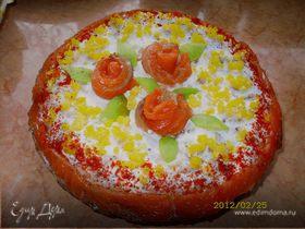 Блинный закусочный торт с семгой