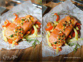 Томленый лосось на подушке из овощей с соусом из апельсина и паприки