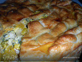 Пирог с курицей и тыквой