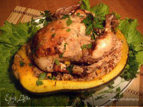 Курица, запеченная в тыкве