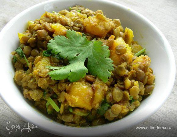 """Индийский суп """"Даал"""" из чечевицы и манго"""
