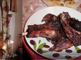 Рождественский барашек, приготовленный в камине