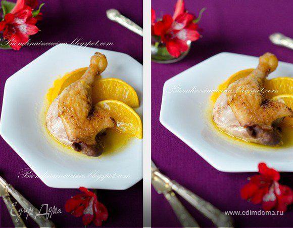 Утиные ножки с томлеными апельсинами под цитрусовым соусом