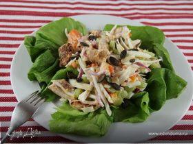 Витаминный салат из зимних овощей и курицы