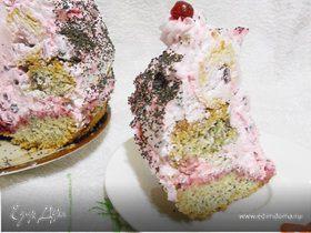 Бисквитный торт с клюквой