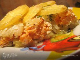 Деликатная запеканка из форели и картофеля