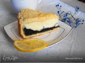 Творожный пирог с маковой начинкой на песочной основе