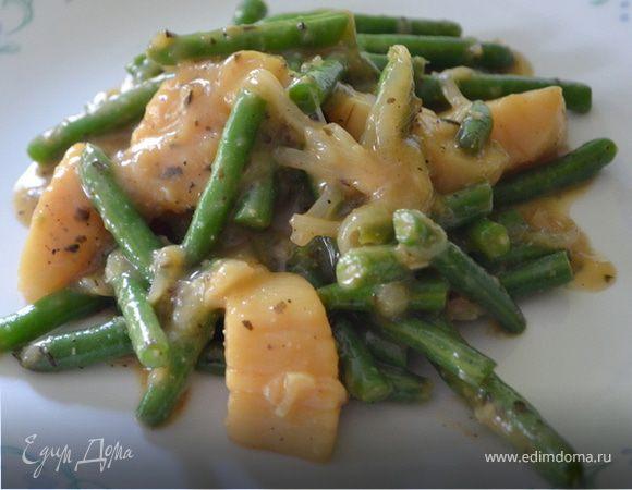 Морские гребешки с зеленой фасолью