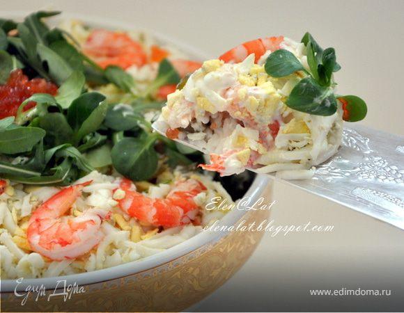 салат королевский рецепт с креветками с красной икрой