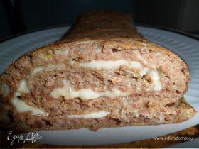 Печеночный рулет с сыром