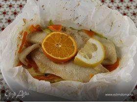 Рыбное филе с цитрусовыми, имбирем и овощами
