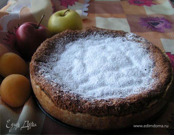 Бисквитно-песочный пирог с малиной