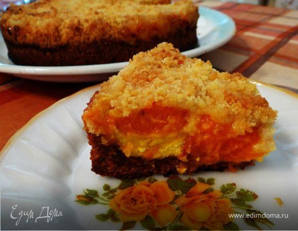 """Темный пирог с творогом и абрикосами под штрейзелем """"Гармония"""""""