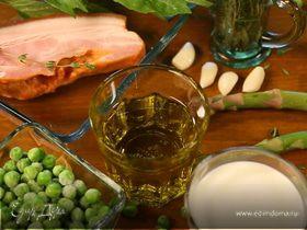 Паста орекьетте с зеленым горошком, спаржей и грудинкой