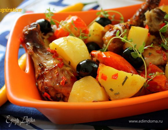 """Запеченные томаты с куриными ножками в соусе """"пири-пири"""""""