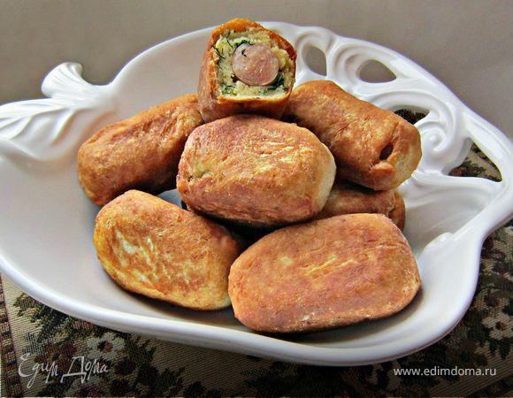 Пирожки с сосисками из творожного теста