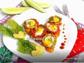«Сердечная» яичница из перепелиных яиц с овощами