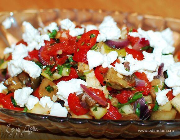 Салат из запеченных овощей с сыром фета