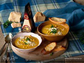 Кукурузный суп с чечевицей и сыром