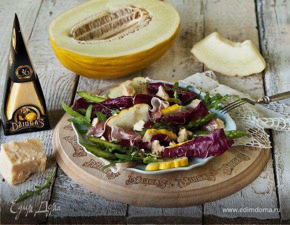 Салат с дыней, пармской ветчиной и сыром Джюгас