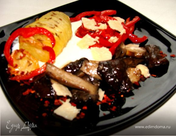 Жаркое из грибов с паприкой и сыром Джюгас