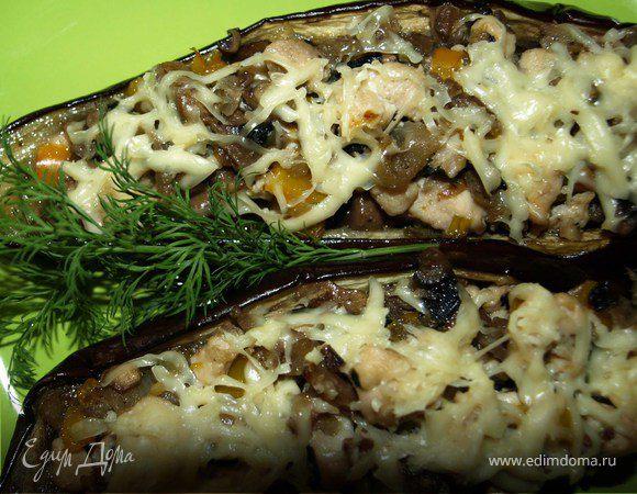 Баклажаны, фаршированные грибами, курицей и болгарским перцем