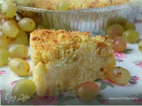 Итальянский пирог на оливковом масле с рикоттой и виноградом