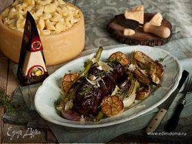 Ростбиф, томленный в красном вине с овощами и сыром