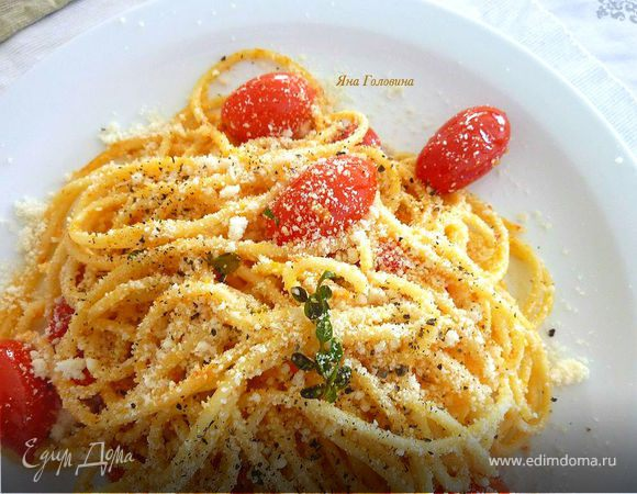 Паста с жареными помидорами