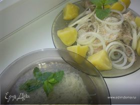 Суп-лапша по-татарски из курицы с мятой