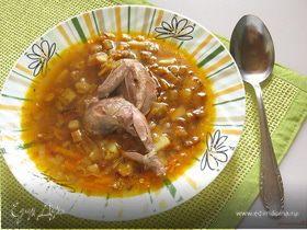 Перепелиный суп с баклажанами