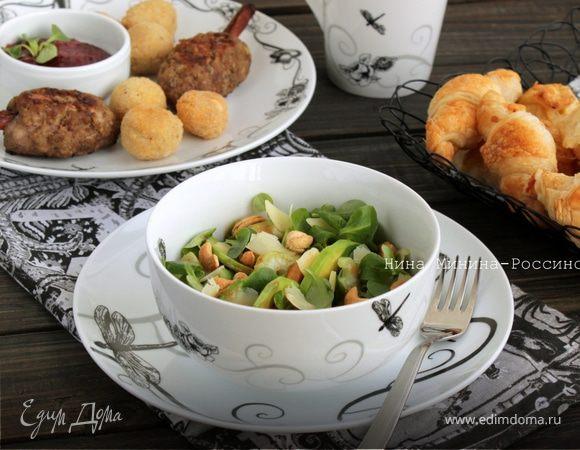 Зеленый салат с сыром Джюгас