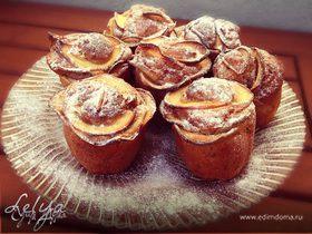 Бананово-овсяные кексы с яблочными розами