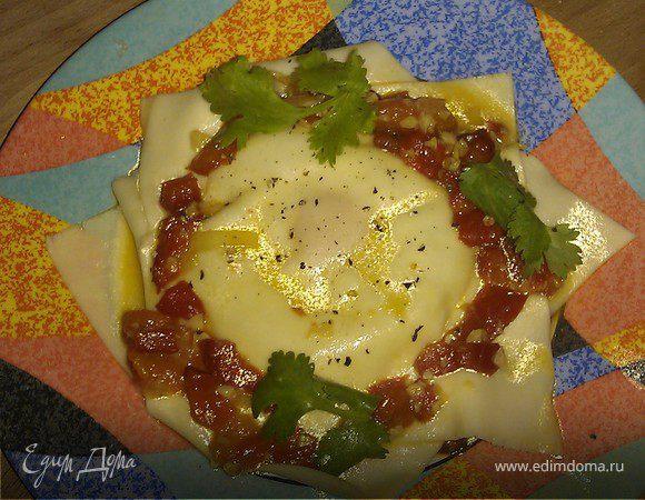 Равиоли с козьим сыром и яйцом