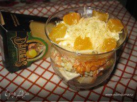 Салат «Озорной цыпленок» с сыром Джюгас