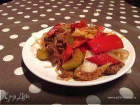 Жареная лаша по-китайски с мясом