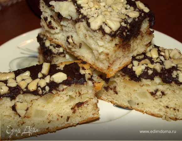 Фруктово-йогуртовый пирог с горьким шоколадом и кешью
