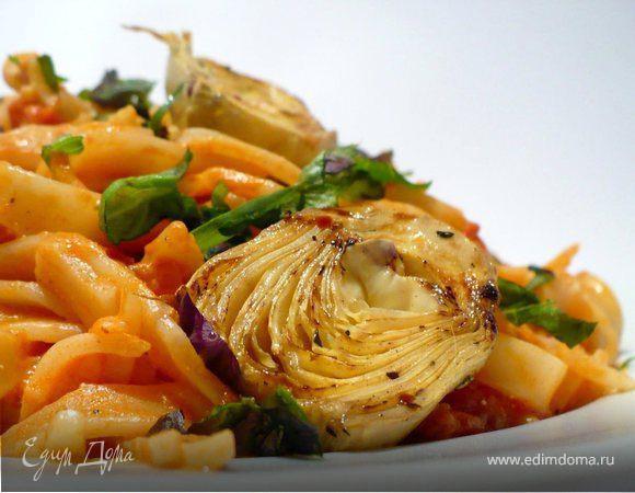 Тальятелле с нежнейшим томатным соусом и жареными артишоками