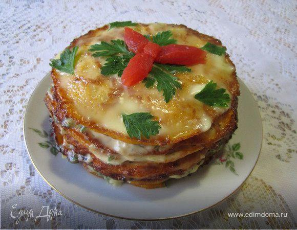 Тыквенный закусочный торт с грибами