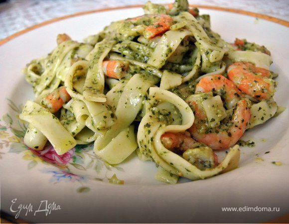 Паста с морепродуктами в сливочном соусе - рецепт приготовления с ... | 450x580