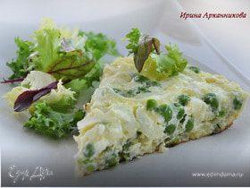 Омлет с картофелем и зеленым горошком