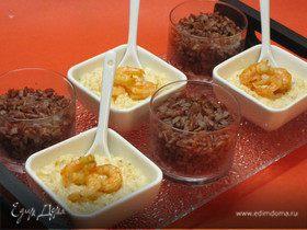 Красный рис с креветочным кремом