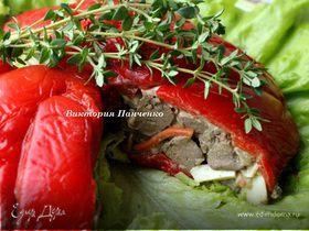 Террин из сладких перцев с печеночным салатом