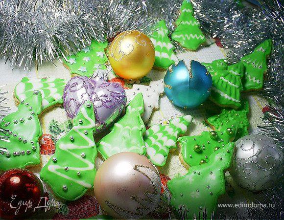 """Имбирное печенье """"Новогодние елочки"""""""