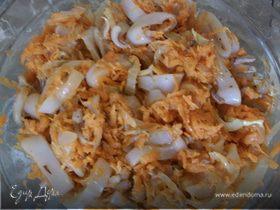 Отличная закуска из кальмаров и овощей