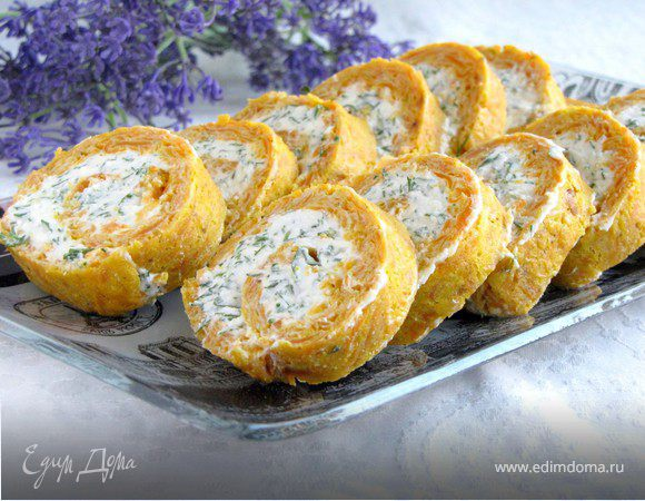 Рулет из моркови с сыром и зеленью