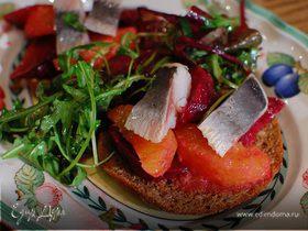 Салат из сельди и свеклы с апельсиновой заправкой