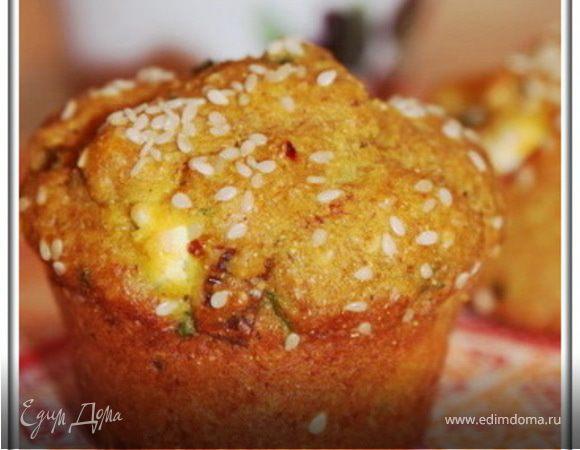 Закусочные кексы с брынзой и зеленью