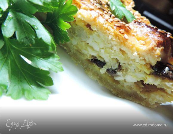 Сырно-луковый пирог с грибами